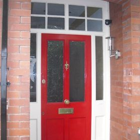red front door painted